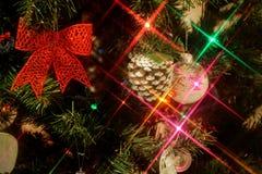 Luci della stella dell'albero di Natale Immagini Stock