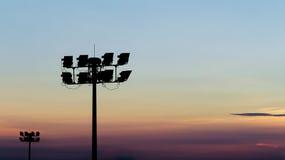 Luci dello stadio della siluetta Fotografia Stock Libera da Diritti