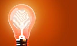 Luci di lampadina, identificazione di Copyright dell'idea creativa Fotografia Stock