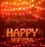Luci di Natale d'ardore Colourful di 2018 buoni anni Fotografie Stock