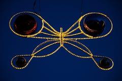 Luci di Natale e bagattelle nella forma della farfalla Fotografie Stock Libere da Diritti