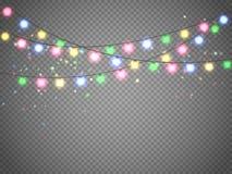 Luci di Natale isolate su fondo trasparente Ghirlanda di natale Illustrazione di vettore Immagine Stock