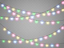 Luci di Natale isolate su fondo trasparente Ghirlanda di natale Illustrazione di vettore Fotografia Stock