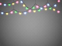 Luci di Natale isolate su fondo trasparente Ghirlanda di natale Illustrazione di vettore Immagine Stock Libera da Diritti