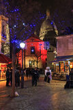 Luci di Natale in Montmartre Fotografie Stock Libere da Diritti