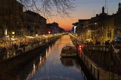 Luci di Natale in naviglio Milano immagine stock libera da diritti