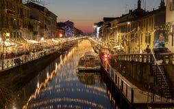 Luci di Natale in naviglio Milano fotografia stock