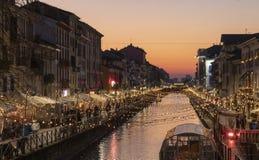 Luci di Natale in naviglio Milano immagini stock