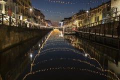 Luci di Natale in naviglio Milano fotografia stock libera da diritti