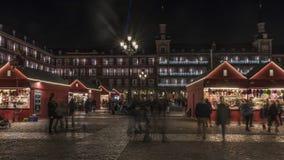 Luci di Natale nel sindaco della plaza della città di Madrid in Fotografie Stock