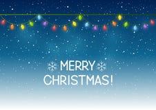 Luci di Natale su cielo notturno Fotografia Stock Libera da Diritti