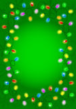 Luci di Natale su fondo verde con spazio per testo Fotografia Stock