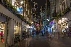 Luci di Natale sulla via di Carnaby, Londra Fotografie Stock Libere da Diritti
