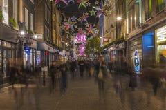 Luci di Natale sulla via di Carnaby, Londra Fotografia Stock