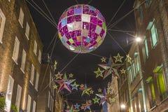 Luci di Natale sulla via di Carnaby, Londra Fotografia Stock Libera da Diritti