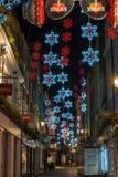 Luci di Natale sulla via di Carnaby, Londra Regno Unito Fotografia Stock