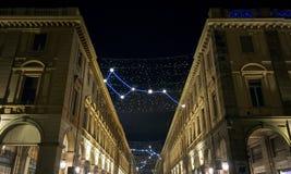 Luci di Natale a Torino con le costellazioni e l'astronomia loro fotografia stock libera da diritti