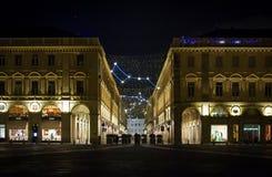Luci di Natale a Torino con le costellazioni e l'astronomia loro Fotografie Stock Libere da Diritti