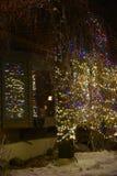 Luci di Natale Twinkly graziose Herald Holiday Greetings fotografia stock libera da diritti