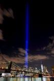 Luci di tributo dell'orizzonte di NYC Fotografia Stock Libera da Diritti