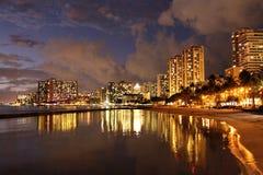 Luci di Waikiki Fotografie Stock