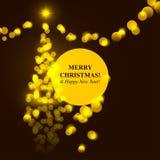 Luci dorate dell'albero di Natale Immagini Stock Libere da Diritti