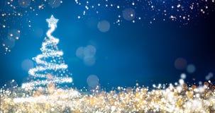 Luci dorate e d'argento con l'albero di Natale su fondo blu, decorazione luminosa per il messaggio allegro di saluto di natale illustrazione di stock