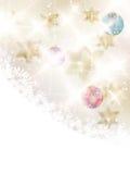 Luci e cenni storici dorati di Natale delle stelle. Fotografie Stock Libere da Diritti
