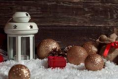 Luci e decorazione bianche della candela di Natale Fotografia Stock Libera da Diritti