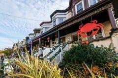 Luci e decorazione di festa in Hampden, Baltimora Maryland Fotografia Stock Libera da Diritti