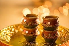 Luci e diyas di Diwali Fotografia Stock