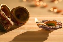 Luci e diyas di Diwali Fotografie Stock Libere da Diritti