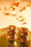 Luci e diyas di Diwali Immagini Stock