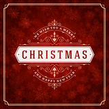 Luci e fiocchi di neve della cartolina d'auguri di Natale Fotografia Stock