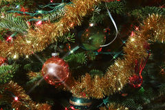 Luci e ghirlanda degli ornamenti Fotografia Stock
