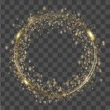 Luci e scintille d'ardore rotonde astratte dell'oro su fondo trasparente Vettore immagine stock