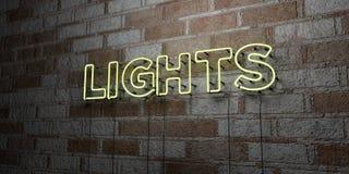 LUCI - Insegna al neon d'ardore sulla parete del lavoro in pietra - 3D ha reso l'illustrazione di riserva libera della sovranità Fotografia Stock Libera da Diritti