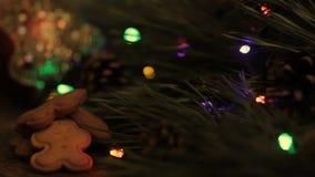 Luci intermittenti sull'albero di Natale e sui biscotti archivi video