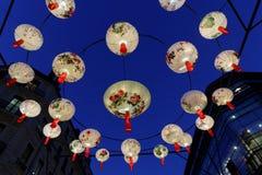 Luci nel cielo di Lione Fotografia Stock