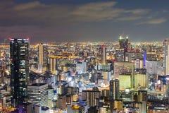 Luci notturne, affare centrale di Osaka del centro Fotografie Stock