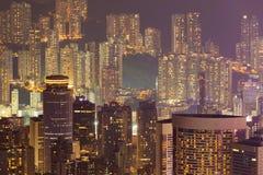Luci notturne, appartamento della città di Hong Kong Immagini Stock