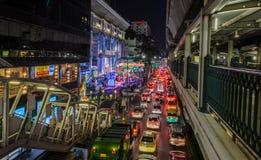 Luci notturne della città di Bangkok Immagini Stock