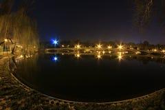 Luci notturne nel parco Fotografia Stock Libera da Diritti