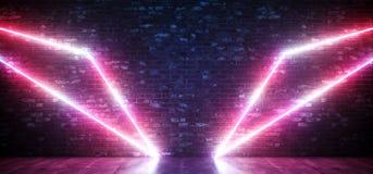 Luci porpora al neon del triangolo di Sci Fi Wing Abstract Shaped Glowing Pink sul muro di mattoni di lerciume e sul pavimento di royalty illustrazione gratis