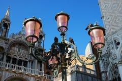 Luci rosa sulla piazza San Marco, Venezia, Italia Fotografia Stock
