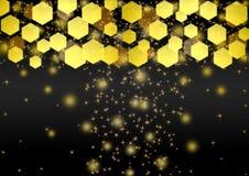 Luci, scintilli e Bokeh dorati luminosi dell'estratto nel fondo scuro illustrazione di stock