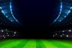 Luci in stadio di calcio alla partita di notte Fotografia Stock Libera da Diritti