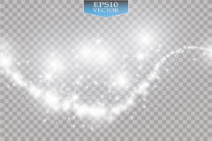 Luci su fondo trasparente Illustrazione bianca dell'estratto dell'onda di scintillio di vettore Traccia bianca della polvere di s illustrazione di stock