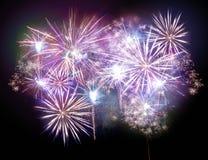 Luci variopinte dei fuochi d'artificio Fotografie Stock