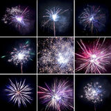 Luci variopinte dei fuochi d'artificio messe Fotografie Stock